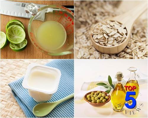 mặt nạ Yến mạch, sữa chua, nước cốt chanh và dầu olive trị mụn đầu đen