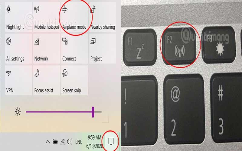 Kiểm tra WiFi trên laptop hoặc chế độ máy bay